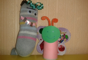 Sock puppet and toilet roll butterfly