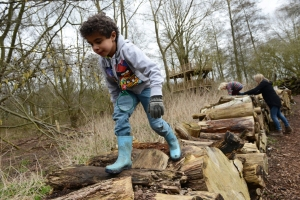 Walking along the log wall in the woodland area. ©NT Images