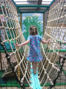 Rope bridge in the play barn at Sacrewell Farm