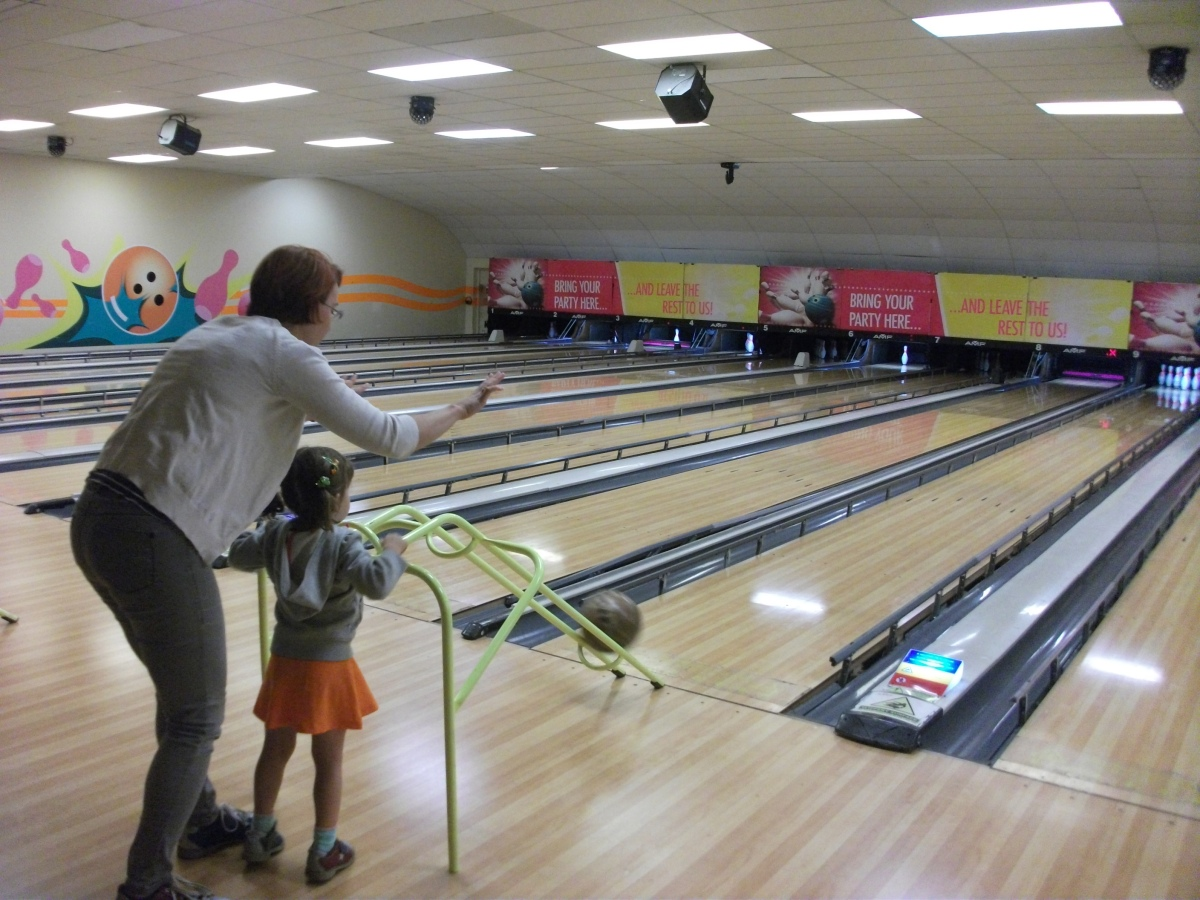 Ten pin bowling with young children