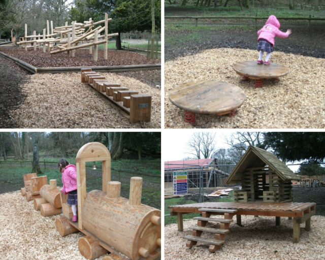 Wooden play equipment at Belton House